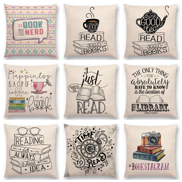 Hot Sale Happy Days Nice Tea Reading Good Books Beautiful Life Gorgeous Words Decorative Letters Cushion Decor Sofa Throw Pillow