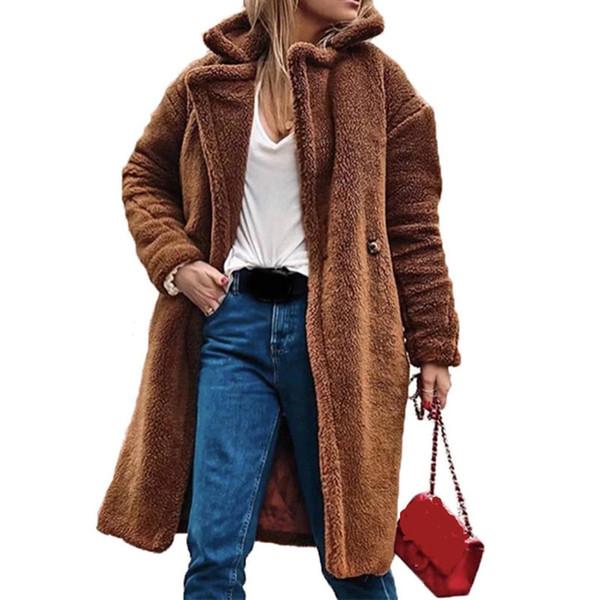 Kadınlar Sonbahar Oyuncak Coat Faux Fur Coat Yaka Yaka Kadın Uzun Gevşek Bayan Moda Kürk Ceket Dış Giyim Manteau Femme Hiver'de