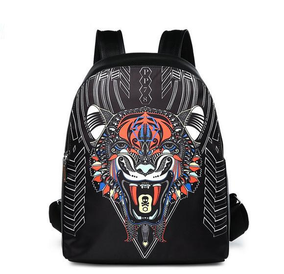 The hottest brand men and women fashion backpack High quality tiger head outdoor travel bag Student bag Elite computer bag Free shipping