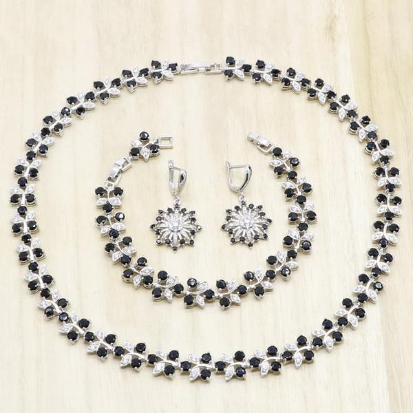 Flor preta Forma Zirconia 925 Conjuntos de Jóias de Casamento de Prata para As Mulheres Colar Brincos Pulseira de Presente de Aniversário de Noiva