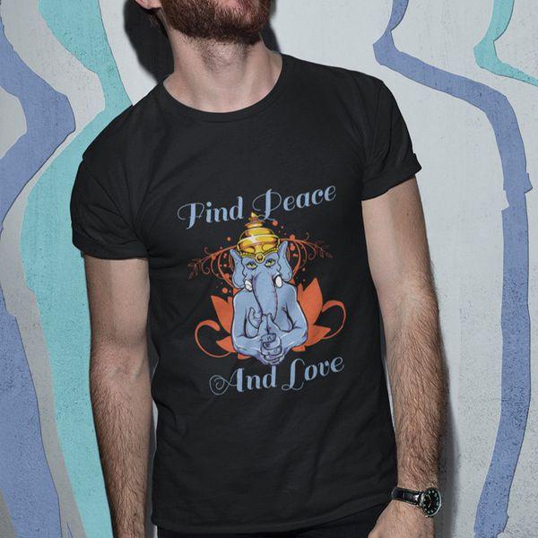 Trouver la paix et l'amour Tee shirt Homme noir Taille S M L XL 2XL 3XL 4XL