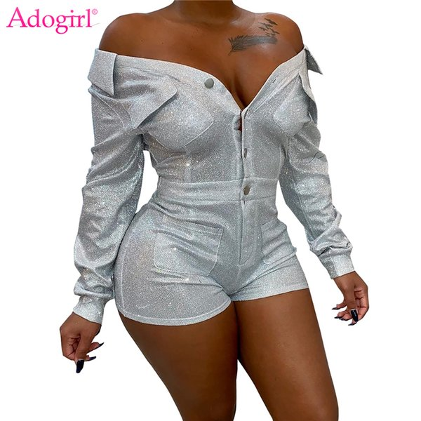 Adogirl Sequins Cloth V Neck Off Shoulder Bandage Jumpsuit Buttons Turn Down Collar Long Sleeve Pockets Overall Club Playsuit