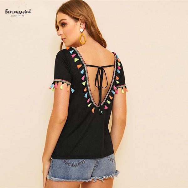 Boho Negro V-Back cortocircuito de la borla del nudo de colores Top mujeres de la camiseta del V-cuello de la manga corta sólido atractivo 2019 tapas de la camiseta
