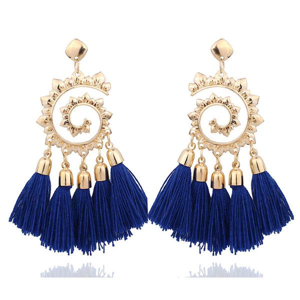 Cross-border hot ear jewelry fashion hand-woven long bohemian tassel earrings European and American jewelry