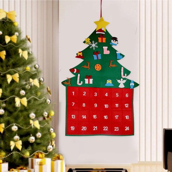 2 Christmas Tree.Behogar 24 Day Diy Felt Christmas Tree Style Hanging Fabric Advent Calendar Countdown With Pockets For Xmas New Year Decorations Newest Christmas