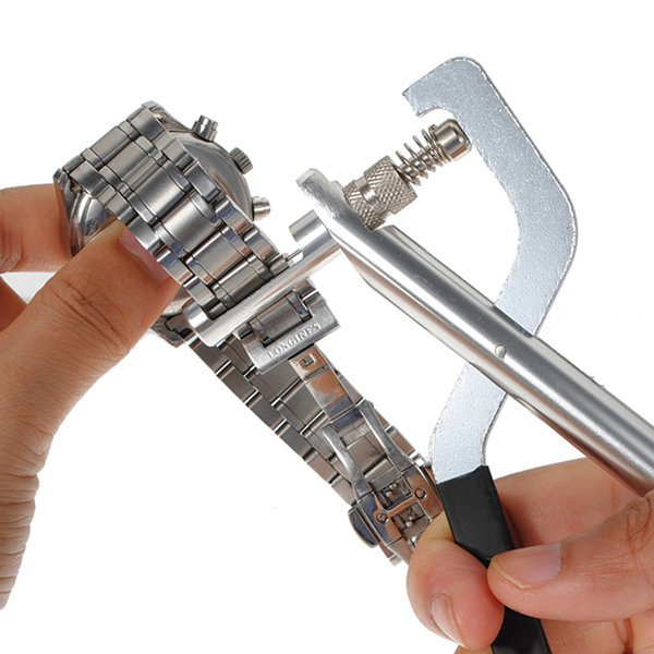 Watch Tools Kit Metal Clock Tools Steel Band Pins Remover Pliers Link Adjuster with 3 Spare Pin Watchmaking Tool