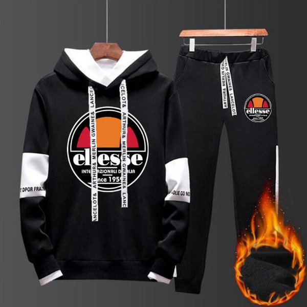 Europe America ellesse tracksuit fashion brand mens designer tracksuits suit classic black white letter logo sweater suit luxury sport suit