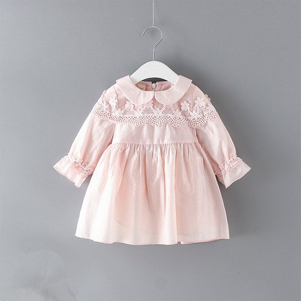 Baby Clothes2019 Spring Peter Pan Collar Puff Sleeve Lace Embroidery Baby Girls Dress Chlidren Clothes Kids Party Clothing 0-2y J190619