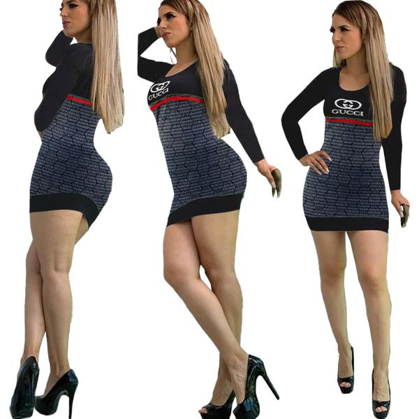 Женщины сексуальная распечатаны письма платья пуловеры толстовка с длинным рукавом фуфайка юбки вскользь SPORTWEAR костюмы размера S ~ XL