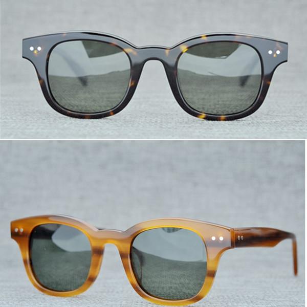 Men Polarized Sunglasses Women Brand Round Vintage Sunglasses The Mask Handmade Sun Glasses Plank Frames Sunglasses Eyelasses with Case
