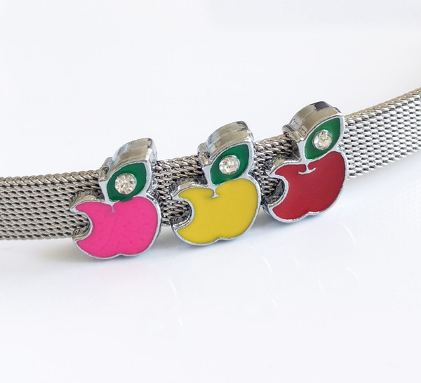 10PCS 8MM One Rhinestone Enamel Apple Slide Charms DIY Accessories Fit 8mm Wristband Belts Pet Dog Collars Phone Strips