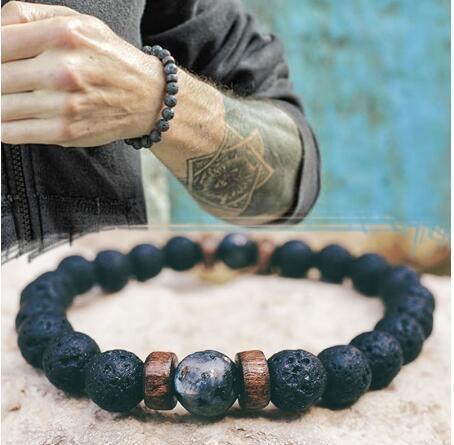 top popular 23 Styles Men Bracelet Natural Moonstone Bead Tibetan Buddha Bracelet chakra Lava Stone Diffuser Bracelets Men Jewelry gift Drop Shipping 2021