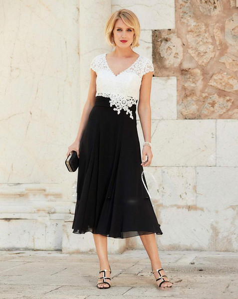 Newest Mother of the Bride Dress Sexy V Neck Chiffon Tea Length Wedding Guest Dress Short Sleeves Top Lace Groom Party Gowns