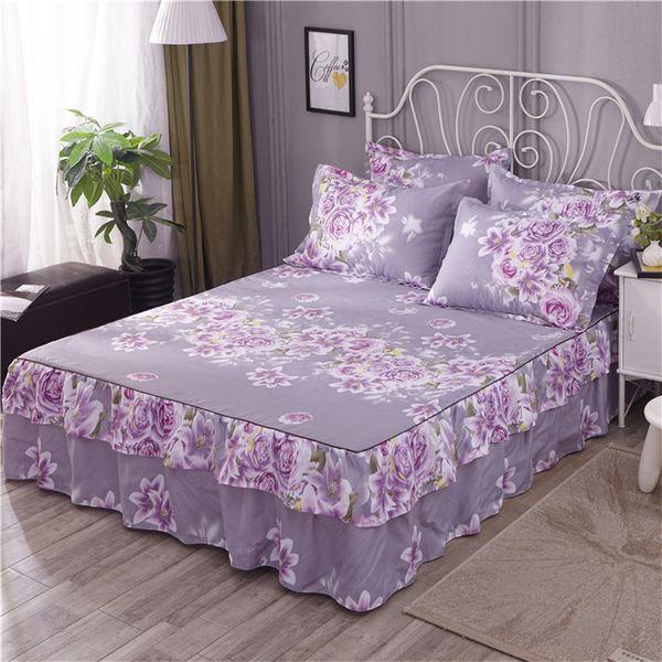 Double Layer rufflers bed skirt floral blossom bed set elastic sheets set 160cmX200cm/180cmX200cm 3Pcs Bedskirt Pillow shams