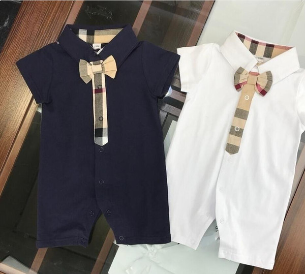 summer brand label baby boys girls rompers designer kids lapel Short sleeve jumpsuits infant plaid stitching bow cotton romper boy clothing