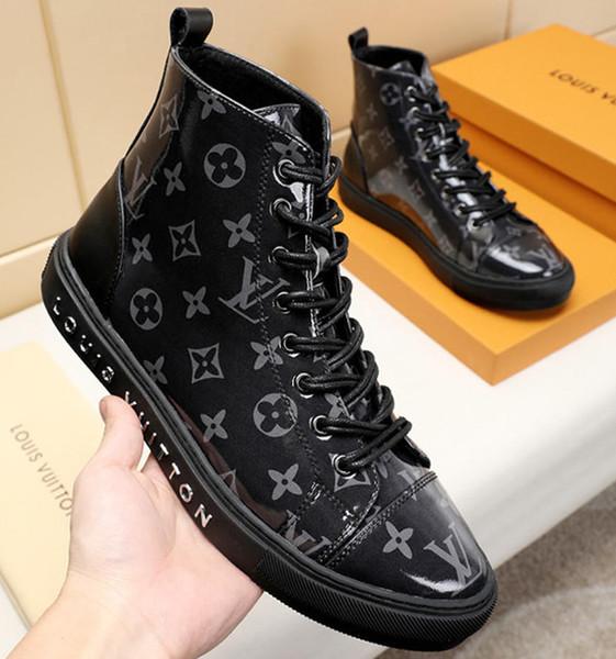 Homens Botas De Couro Ankle Boots Moda Lace Up com Caixa De Origem Alta Top Bottes Hommes M # 23 Sapatos Da Moda Dos Homens Chaussures pour hommes Venda Quente