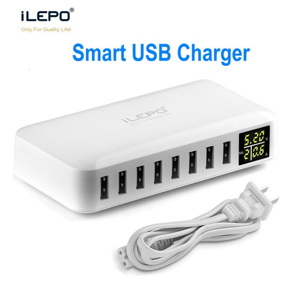 iLEPO 8 Port Smart USB Charger With LCD Display 8A Output High Speed Multiple Adapter Travelling Charger For Android iPhone XS Max