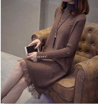 Spring new Women's Clothing high-necked long knit dress lace bottoming sweater skirt