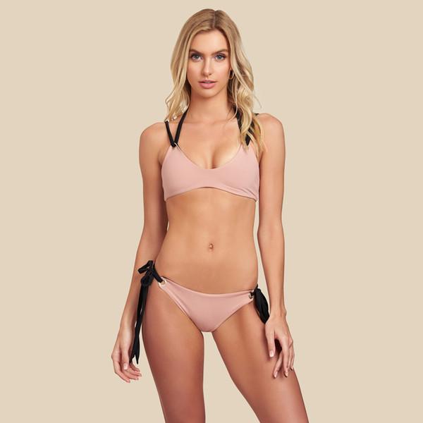 Yaz 2 adet Kadınlar Için Bikini Tasarımcısı Halter Seksi Katı Bayan Banyo Giysileri Plaj Mayo Kadın Giyim