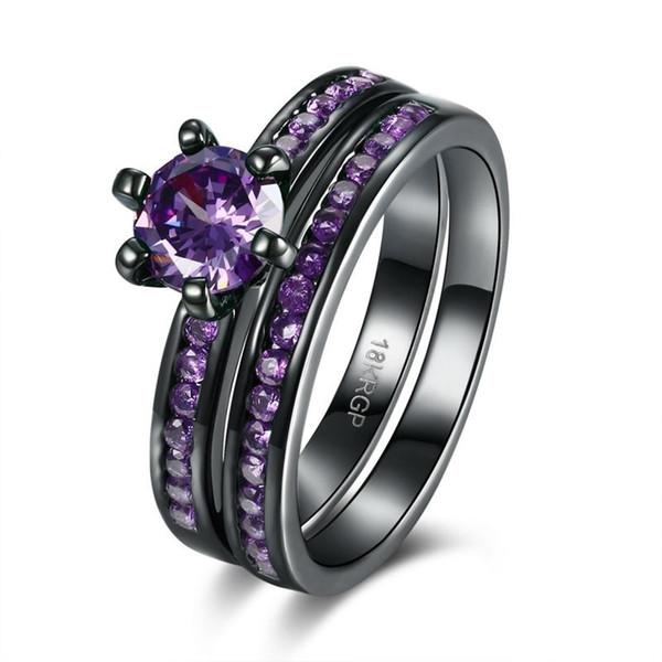 Старинные женские 14kt черного золота заполнены натуральный фиолетовый аметист бриллиантовые обручальные кольца набор размер 5-12
