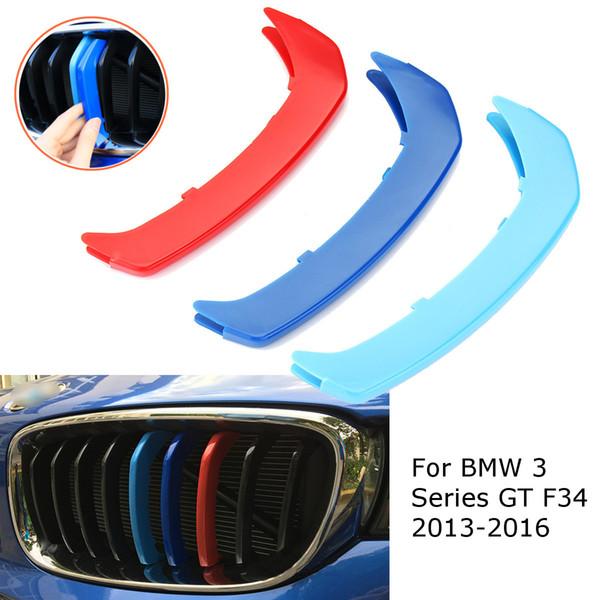 3 stücke für BMW F34? 9 Grills 2013 2014 2015 2016 3D M-farbe Auto Frontgrill Grille Trim Sport Streifen Abdeckung Aufkleber