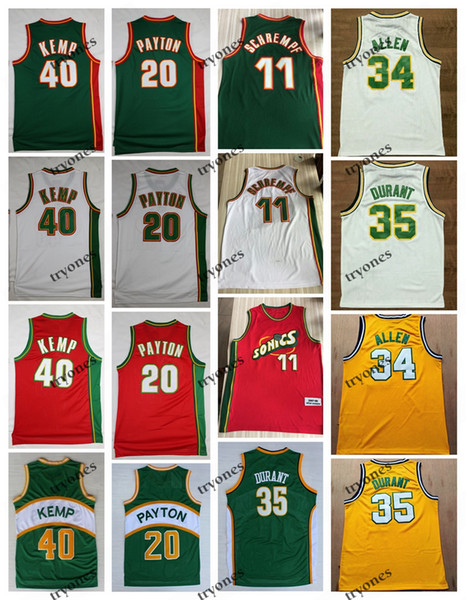 best selling NCAA Vintage 20 The Glove Gary Payton Kevin Durant 40 Reign Man Shawn Kemp 11 Detlef Schrempf Ray Allen Red Green Basketball Jersey