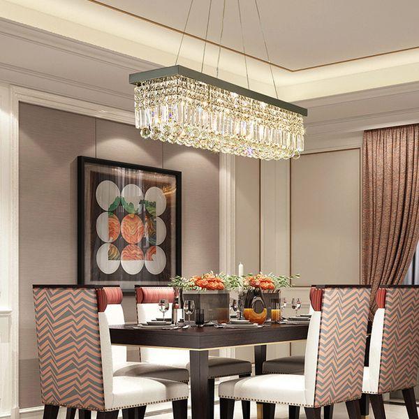 Современные прямоугольник хрустальные люстры подвесные огни заподлицо хрустальные люстры освещение светодиодные потолочные светильники для столовой кафе