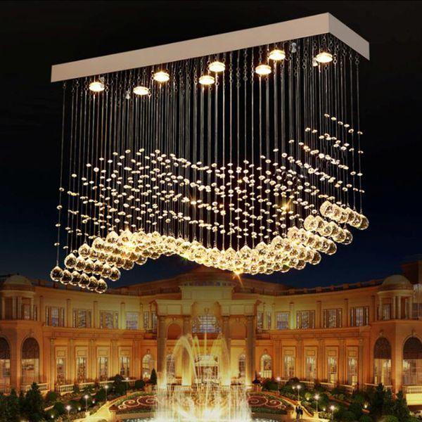 K9 Lustres En Cristal LED Chrome Fini Vague De Lumière Art Décor Suspension Moderne Éclairage Suspension Villa Hôtel Lampe Suspendue