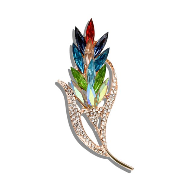 Multi-color Crystal Wheat Brooches for Women Rhinestone Brooch Pin Fashion Jewelry Coat Dress Corsage Flower Style