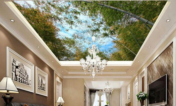 2019 Custom 3D Wallpaper Wall Painting ceiling Decor Photo Bamboo forest scenery Living Room Bedroom Ceiling Mural Wallpaper
