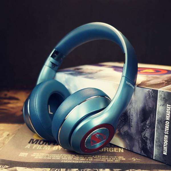 Neues superman-blaues Bluetooth-Gaming-Headset HIFI-Stereo über dem Ohr von DC Justice League. Drahtloser Spielekopfhörer mit Mikrofon für den PC
