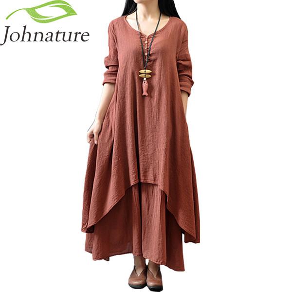 Cotton Linen Color Women Maxi Dress Spring New False Two-piece Long Sleeve Round Neck Loose Plus Size Irregular Dress