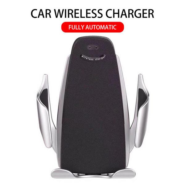 Nuova vendita calda 10W caricabatteria da auto senza fili S5s morsetto automatico ricarica veloce supporto del telefono presa d'aria auto telefono cellulare Qi ricarica senza fili