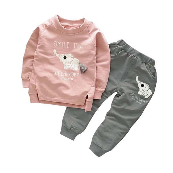 New Spring Autumn Children Boys Girls Clothes Suit Cartoon Elephant Cotton Clothing Sets Tassel T-Shirt+Pants 2pcs Clothes