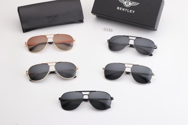 5 Colors To Choose Brand Designer Men Women Polarized Sunglasses Semi Rimless Sun Glasses Gold Frame Polaroid lens With Brown Case and box