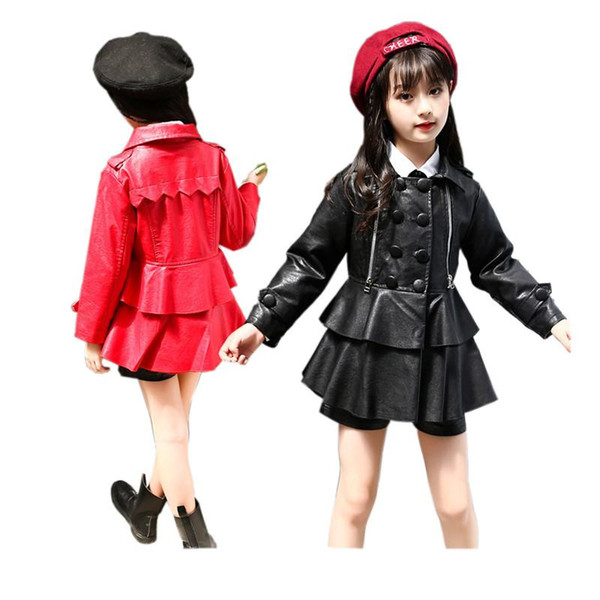 classical girl leather jacket cool solid lady style jacket leather for 3-10years girls kids children cool outerwear jacket coat