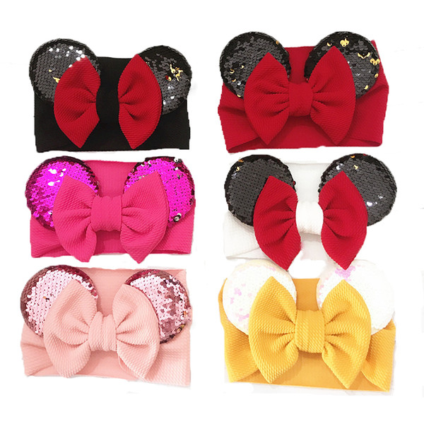 Baby Girls Sequin Bow designer Headbands nylon Turban Infant Elastic Mouse ears Hairbands Children Headwear kids Hair Accessories C6918