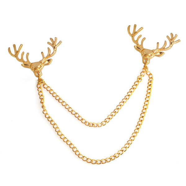 Deer Head Chain Tassel Brooch Lapel Pin Shirt Collar pin Fashion Jewelry for Women Men Will and Sandy Brooch