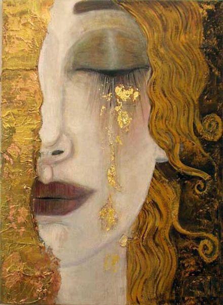 Femme en or gustav klimt art sur toile doré larmes peintes à la main peinture à l'huile figure oeuvre belle dame image pour la décoration murale