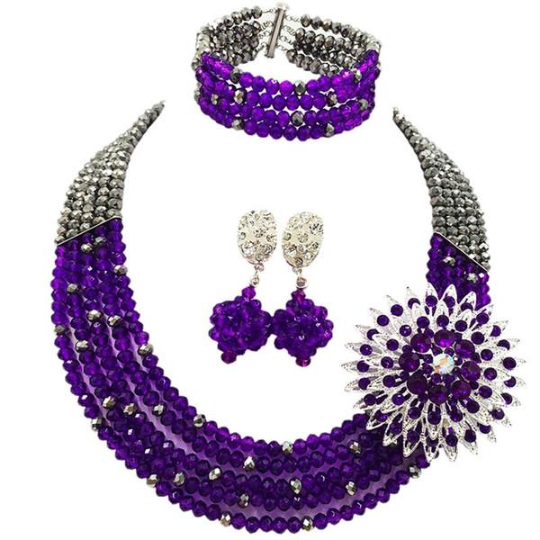 Imitation Silver Plated Pruple Crystal Fashion Anniversary Necklace Earrings Bracelet 5C-SZ-35