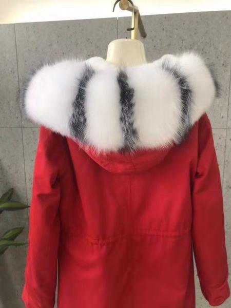 Colore brillante bianco nero finitura pelliccia di procione Mukla pellicce bianco rex fodera in pelliccia di coniglio rosso lungo parka cappotti invernali da neve Svezia Germania