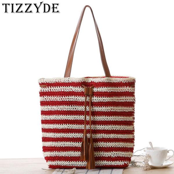 Borsa a mano in paglia Borse a tracolla per donna Summer Big Line Striped Crochet Woven Simple Rattan Bag a tracolla semplice WWJ281