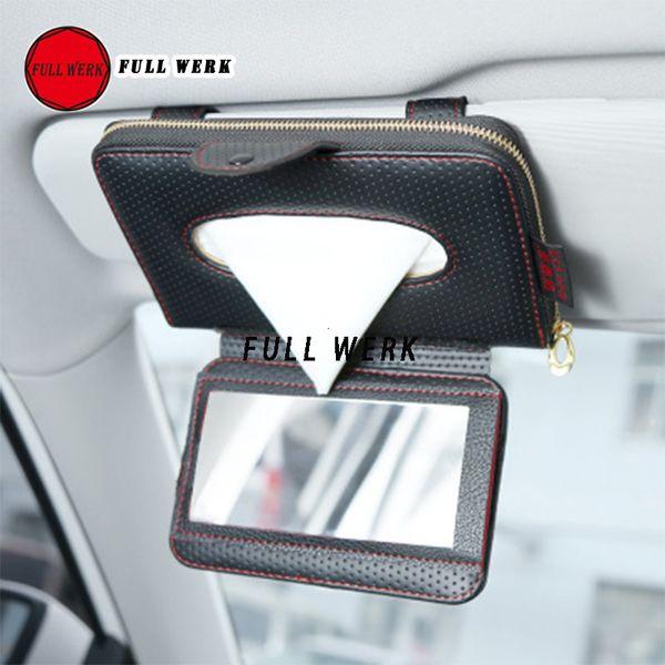Car Sun Visor Tissue Holder Faux Leather Cover Napkin Holder Clips