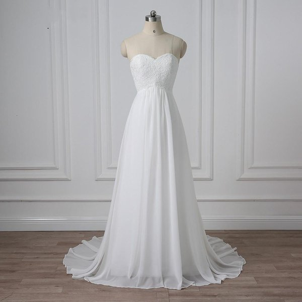 Chiffon Wedding Dresses A-line Pregnant Bridal Gowns Applique Top Lace Up Back Custom Made Brial Gown Custom Size Foraml Oaacsion