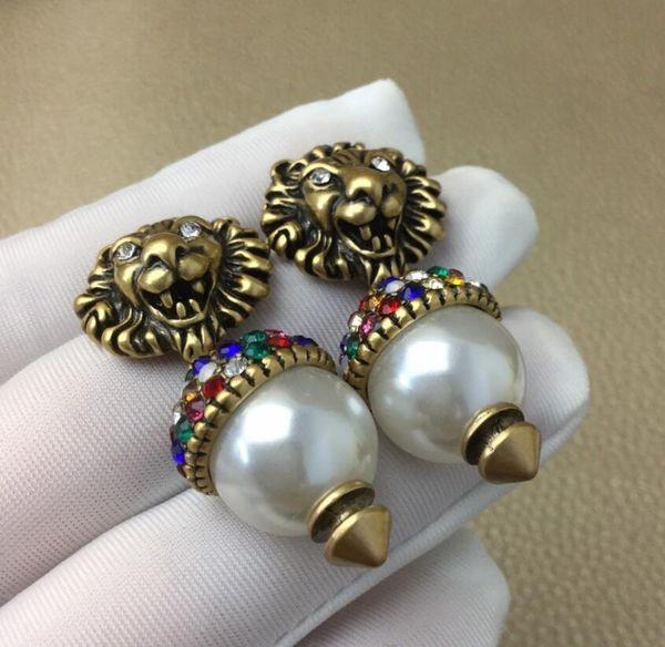 Ladies Pearl Rhinestone Lion Head Stud Earrings Necklace Set Glittering Letters Animal Earrings Love Gift Fashion Jewelry Accessories