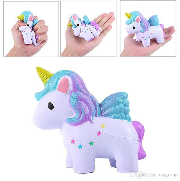 INS Moon Stars Rainbow Color Unicorn Squishy Toys Colorful Horse Slow Rising Kawaii Soft Jumbo Squeeze Phone Charms Stress Reliever