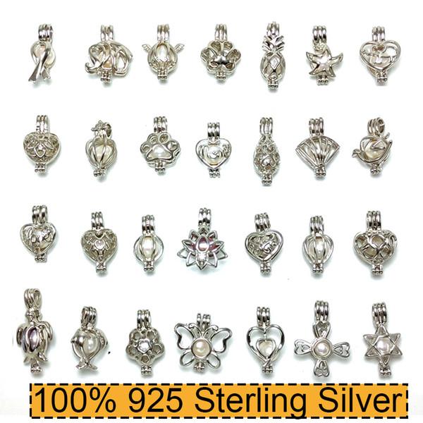 100% 925 colar de pérolas de prata colar de medalhão pingente pérola colar diy 15 * 25mm 28 estilos de moda jóias presente de casamento de natal