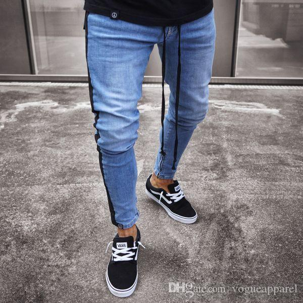 Herrenbekleidung Jeanshosen Distrssed Washed Blue Drawstring Side Striped Hosen Fashion Teenager Boys Jeans Pencil Pants