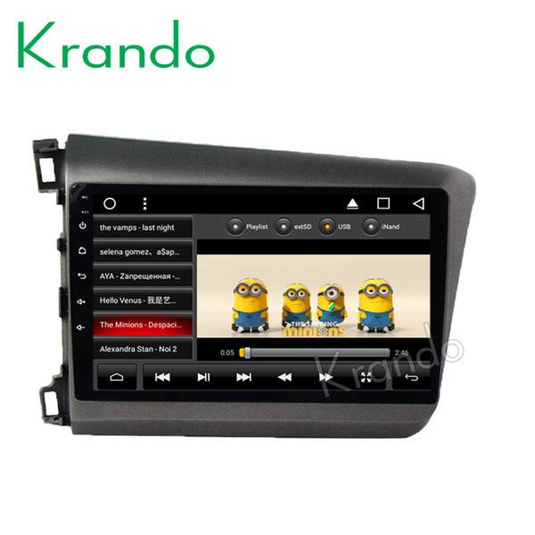 """Krando Android 8.110.1"""" IPS Big Screen Full touch car dvd Multimedia player for Honda Civic 2012-2013 navigation system gps BT"""
