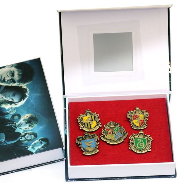 5 Pcs Harry Potter Badge Hogwarts House Metal Pin Gryffindor Slytherin Ravenclaw Hufflepuff Brooch Collection Cosplay Costume Gift Free DHL
